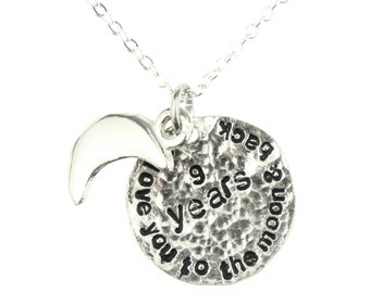 9th Wedding Anniversary I Love You To The Moon And Back Necklace - Unique 9th Anniersary Gift Idea