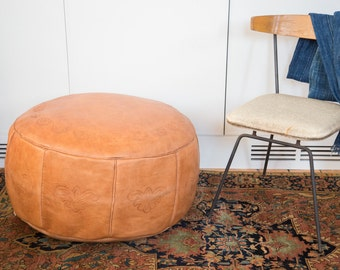 Antique Revival Leather Moroccan Pouf Ottoman - Camel Brown