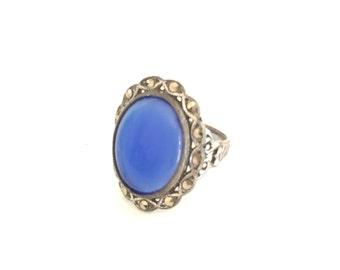 Vintage Ring Blue Glass Marcasites Size 4 1/2