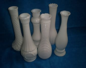 Set of 6Vintage, Variety of Milk Glass Vases.  #3