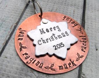 Snowflake Ornament - Christmas Ornament - Personalized Christmas Ornament - Hand Stamped Personalized Ornament Personalized Family Ornament