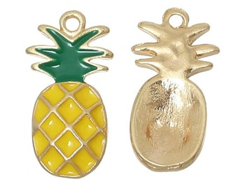 2x Tropical Pineapple Charms - Yellow and Green Enamel and Gold tone metal - approx 12mm x 23mm