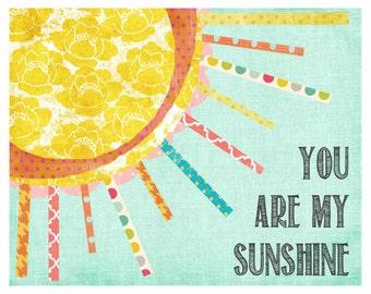 You are My Sunshine, Wall Art, Chidren's Wall Decor, Girl Nursery, Pink & Yellow Decor, Print, Sunshine Art, My Only Sunshine, LilyCole,