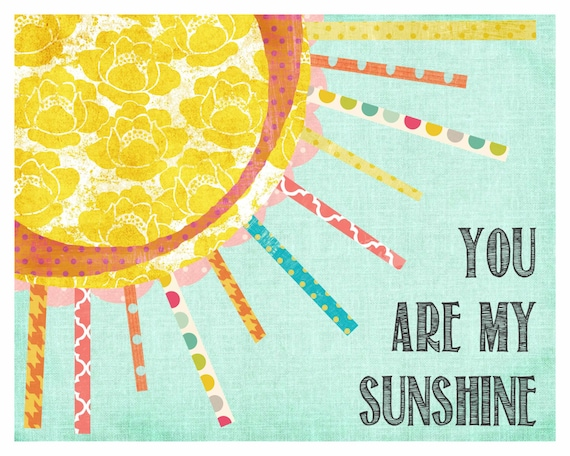 You are My Sunshine, Wall Art, Chidren's Wall Decor, Girl Nursery, Pink & Yellow Decor, Print, Sunshine Art, My Only Sunshine, LilyCole,