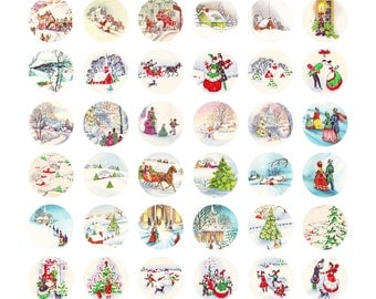 Digital Clipart, instant download, Vintage Christmas bottle cap snow church trees winter--Digital Collage Sheet (8.5 by 11 inches) 2444
