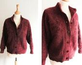 Vintage Burgundy Fake Fur Bomber Jacket