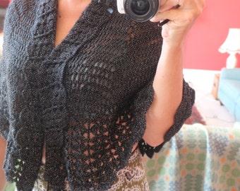 Vintage black crochet silver flecked cape shrug shawl