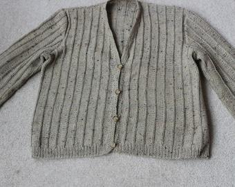 Flecked honey coloured hand knit wool acrylic mix cardigan M / L