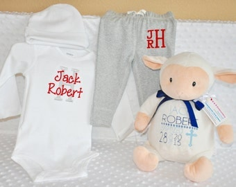 Personalized Baby Gift Baby Unisex Bodysuit and Pants OUTFIT, Monogram, Personalized Baby Layette Burp Cloth, Initial Monogram Newborn