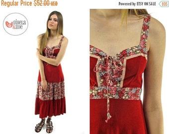 On Sale - Vintage 70s floral boho dress / Faux Suede 70s Dress / 70s Hippie Dress . md