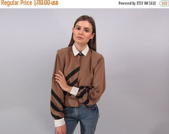 On Sale - Vintage 80s Louis Feraud Blouse, Color Block Blouse, Poet Sleeves, Designer Top ΔΔ  sm / md