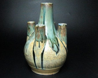art deco pottery from Belgium with a drip glaze , wonderful shape 173/2