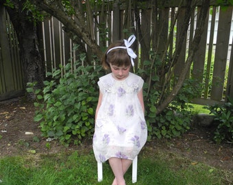 Vintage Baby Clothes, 1920's Lavender and White Lace Organdy Baby Girl Dress, Vintage Baby Dress, Lavender Baby Dress, Size 4T