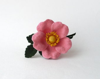 Pink flower brooch wild rose dog rose felt flower pins corsage flower handmade flower jewelry gift for her boutonniere mothers day