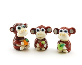 Monkey With apple/with grape/ with candy / With banana artisan  monkey bead glass lampwork brown  ivory / sculpture / miniature / figurine