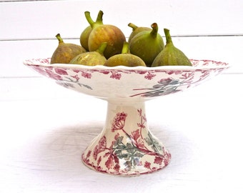 Antique french Ironstone Cake Stand - footed compote plate French Cake dish Antique pedestal Bowl Flowers Cake Stand - Longwy