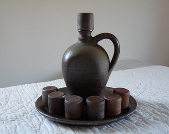 French Calvados Normandy Bottle of Hooch French Farmhouse Sandstone French Pitcher Primitive Jug Alcohol
