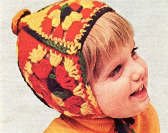 Granny Square Child's Helmet Crochet Instant Download PDF Pattern