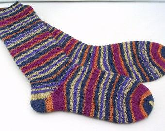 Hand knit Womens socks size UK 5 - 6 US  7 -  9 38 -39 EU  (small mens) wool socks