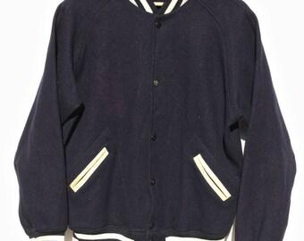 vintage 1950's Lasley knitting wool letterman's Jacket original sportswear dark navy blue