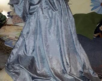 Silk Yardage Blue Ice Abstract Jacquard Designer Textile Fabric by AntiquesandVaria