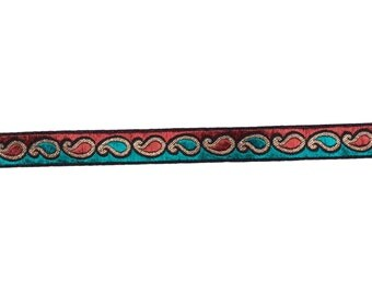 2  yards trim in red,gold and teal green