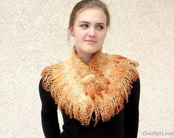 Felted collar Fox orange. Felted scarf. Felted neck warmer. Pure wool, Australian merino,  raw wool locks. Eco friendly felt fur.