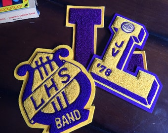 Vintage Varsity Letters L LHS Band Gold and Purple JV Basketball Letter Preppy High School Varsity Patch 1978