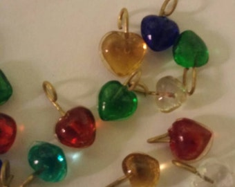 Small hearts of glass jewelry charms