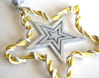 Star Christmas Ornament Wire Silver and Gold