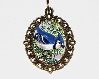 Blue Jay Necklace, Bluejay, Blue Bird, Animal Jewelry, Bronze Oval Pendant