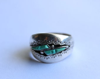 Sterling Silver Navajo Ring - Signed piece -Hand Stamped Size 12