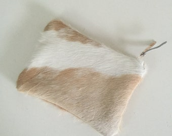 Clutch Hobo Boho Cow Hide Hair on Hide zipper pouch unique holiday gift