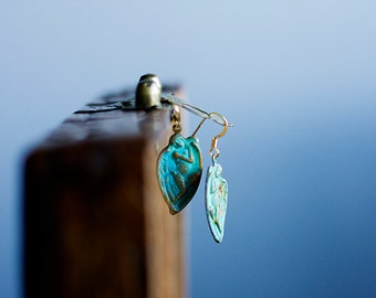 Verdigris Angel Earrings Turquoise Patina Sleeping Angel Wings Earrings Teal Patina Jewelry - E292