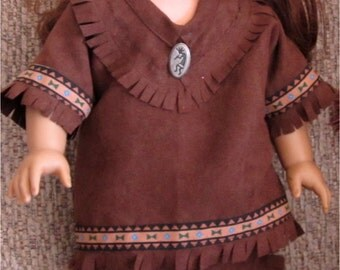 Dark Brown Faux Suede Native American Pants, Top and Moccasins Boy Or Girl Set Fits American Girl Dolls or Similar 18 Inch Doll