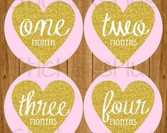 Baby Girl Month Stickers Milestone Bodysuit Monthly Newborn Photo Baby Age Stickers Pink Gold Glitter Heart Vintage Script Nursery Decor