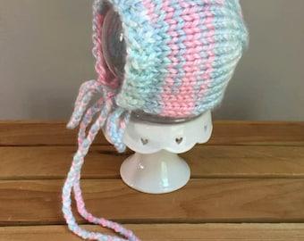 Newborn Bonnet, Hand Knit Pink and Sweetest Blue Bonnet, Newborn Photography Prop, Baby Girl Bonnet, Ready To Ship