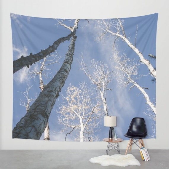 Forest wall tapestry aspen trees nature decor flagstaff for Aspen tree wall mural