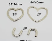 10PCS Alloy Silver Love Heart Ring Connector Leather  Shoes Bag Belt accessories