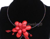 Red Turquoise flower Statement Necklace Chunky Necklace Turquoise Necklace turquoise pendant necklace bib Bridesmaid Jewelry