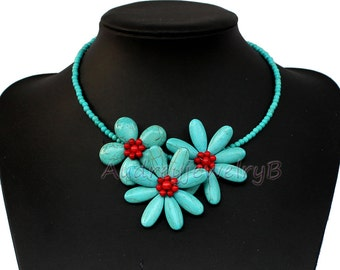 Turquoise necklace bridesmaid gifts,Turquoise beaded necklace, Bib necklace, statement necklace, jewelry, Choker necklace Wedding