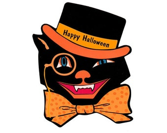 Halloween Cat Image, Vintage Top Hat Graphics ,LARGE Happy Halloween Sheet, TransferTemplate,  Transfer To Totes T-Shirts Pillows, Supply