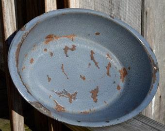 Gray Enameled Graniteware Wash Pan/Bowl Gray Metal Pan Enamel Graniteware Pan Rustic Prim Farmhouse Decor