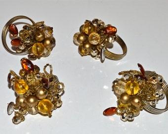 Beaded Napkin Ring Holders Set of 4, Vintage Beaded Brown Amber Gold Tones