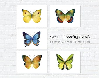 Watercolor Butterfly Greeting Cards, Set 1, Five Different Butterflies, 5x7, blank inside, Gift for butterfly lover