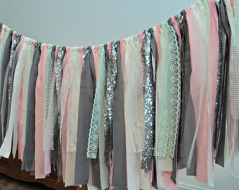 Fabric Garland Charcoal Gray Pink Mint Sequin Nursery Garland Wedding Garland Smash Cake Photo Prop Bridal Shower Decor Cake Table Decor