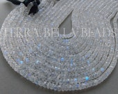 "6"" half strand AAA RAINBOW MOONSTONE faceted gem stone rondelle beads 5mm - 5.5mm"