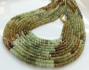 """Full 13"""" strand green shaded GROSSULAR GARNET faceted rondelle gem stone beads 3mm - 3.5mm"""