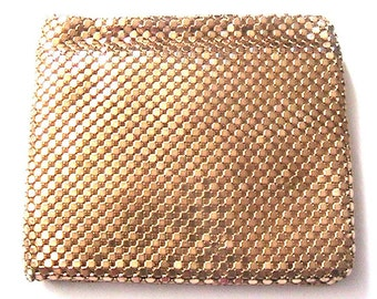 Beautiful 1930s Woman Gold Mesh Bifold Wallet & Secret Compartment - Iridescent Color - Made in West Germany - New/Old Stock