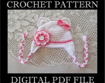 PDF PATTERN - Kitty Cat with Flower and Bow Crochet Hat Pattern